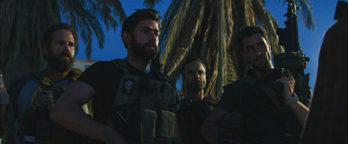 "Left to Right: David Denman plays Dave ""Boon"" Benton, John Krasinski plays Jack Silva, Dominic Fumusa plays John ""Tig"" Tiegen and Pablo Schreiber plays Kris ""Tanto"" Paronto in 13 Hours: The Secret Soldiers of Benghazi from Paramount Pictures and 3 Arts Entertainment / Bay Films in theatres January 15, 2016."