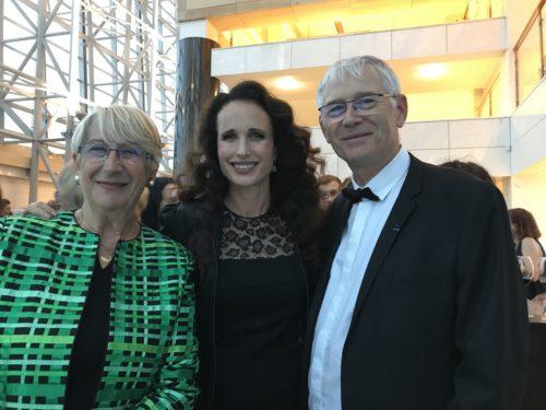 Martine et Jean-Marc Thérouanne en compagnie de l'actrice Andie Macdowell